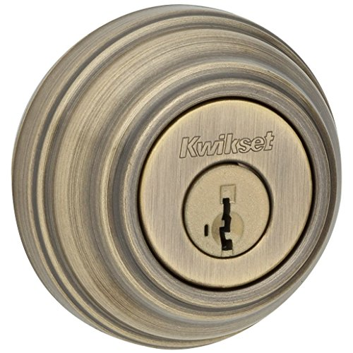 Kwikset 980 Single Cylinder Deadbolt featuring SmartKey in Antique Brass (Antique Brass Bolt)