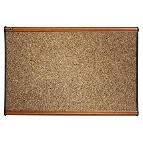 Quartet Prestige Colored Cork Bulletin Board, 6 x 4 Feet, Dark Gray Cork with Light Cherry Frame (B247LC) (Renewed)