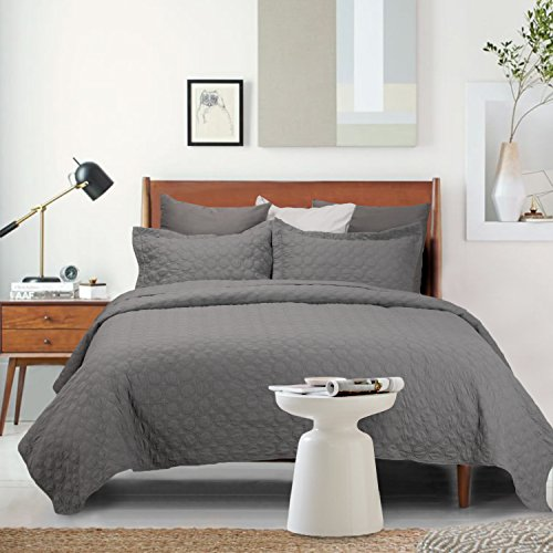 Bedsure Coverlet Set King Size 3 Piece Quilt Set-Dark Grey C