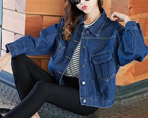 Primaverile Tasche Solidi Button Manica Marca Giacche Jeans Colori Vintage Autunno Di Corto Festiva Casuali Blau Giaccone Cappotto Mode Con Outerwear Donna Fit Bavero Slim Elegante Colore Lunga Puro zwnB1a6x6q
