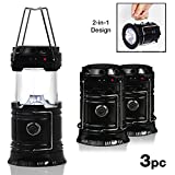 EACHPOLE |3-Pack| Outdoor Camping LED Lantern 2-in-1 Solar and Cable Charging and Built-in Power Bank APL1566