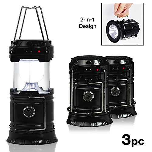 EACHPOLE |3-Pack| Outdoor Camping LED Lantern 2-in-1 Solar and Cable Charging and Built-in Power Bank APL1566 by EACHPOLE
