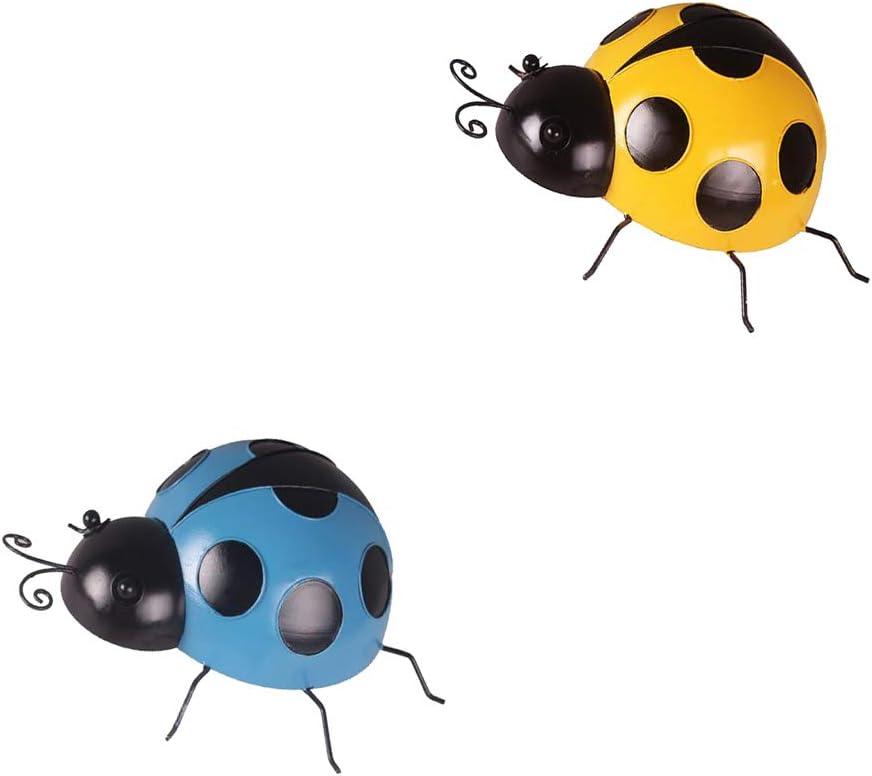 VANKOA - 4 Piezas de Mini Mariquita de Hierro para Colgar en la Pared de Metal, decoración de Arte para el hogar, jardín, Color Azul y Amarillo, 10 cm