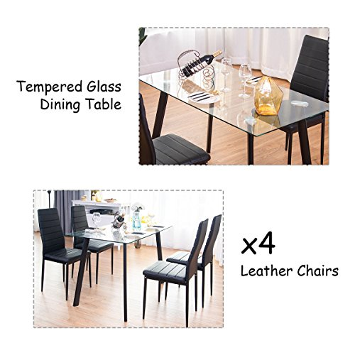 Tangkula 5 PCS Dining Table Set Modern Tempered Glass Top and PVC Leather Chair w/4 Chairs Dining Room Kitchen Furniture (Black) by Tangkula (Image #3)