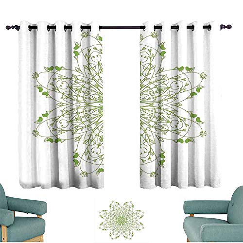 Mannwarehouse Celtic Polyester Curtain Oriental Flower Design Circle Pattern with Laurel Leaves Birds Floral Renaissance Print 70%-80% Light Shading, 2 Panels,72
