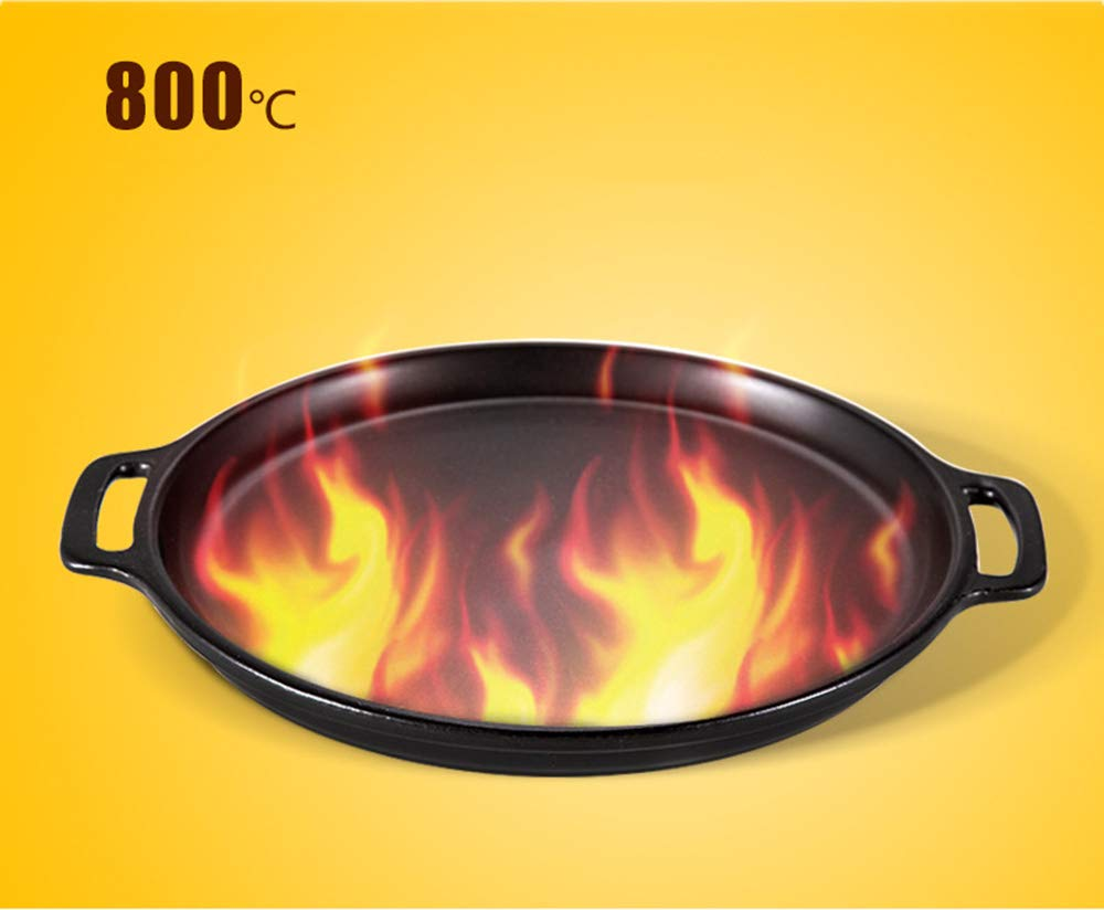 Casserole, pan made of ceramics   steak pizza baking tray   suitable for induction   diameter 29 2.5cm round, uncoated pot heat resistant 800 ° C,322.5CM by DOKJ (Image #6)