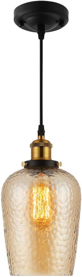 Pendant Lighting Industrial Edison Vintage Style, 1-Light Pendant Glass Hanging Light for Kitchen Island Restaurant Caf Hotels and Shops