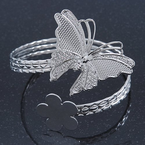 Bracelet brassard haut du bras Papillon et Fleur martel/é plaqu/é argent