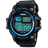 Men's Digital Sports Watch, Aposon Military Electronic Wrist Watch Alarm Back Light LED Waterproof Army Watches Stopwatch- Blue