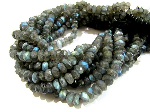 - Top Quality Natural Blue Flashy Labradorite Beads/ Blue Fire Rondelle Faceted Labradorite Beads/ 6-7 mm Size Israel Cut Bead/ Strand 10
