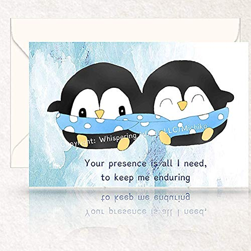 Personalized Cute Penguins Snuggling In Blanket Love, Birthday, Anniversary Card, Hand Drawn Original Poetry Greeting Card