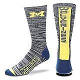 michigan football socks - For Bare Feet NCAA Mens Team Vortex RMC Crew Socks-Medium & Large Sizes-Michigan Wolverines-Large (10-13)