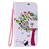 SZYT Phone Case for Samsung Galaxy S6, 5.1 inch, PU Leather Flip Cover with Handle, Colorful Leaves Tree Black Cat