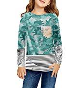 Dokotoo Girls Color Block Crewneck Sweatshirts Long Sleeve Pullover Sweatshirt Casual Loose Shirt...
