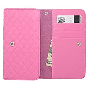 For 5inch Size - Universal Horizontal Pocket Pouch w/ ID Holder and Lanyard - Light Pink PHP