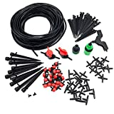 ADHERETOFLY 20m/65.6ft Container Drip Watering Irrigation Kit 1/4 Inch Irrigation Systems for Gardener Greenhouse Cooling Suite Plant Watering Drip Kit Accessories (2)