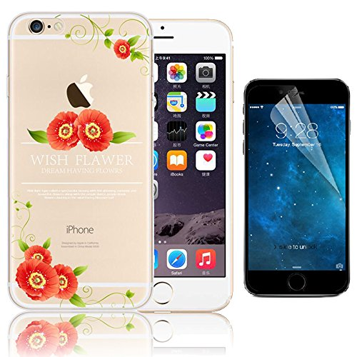 Bonice iPhone 6 Plus Cover (5.5 pollice), iPhone 6S Plus Custodia,Bonice Colorato Ultra Thin Morbido TPU Silicone Rubber Clear Trasparente Back Creativo Case - fiore 05
