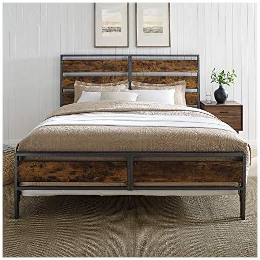 Bedroom Walker Edison Industrial Plank Metal King Size Headboard Footboard Bed Frame Bedroom, Brown Reclaimed Wood farmhouse beds and bed frames