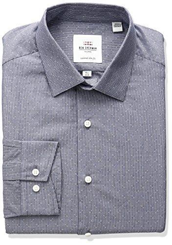 Check Mini Dress (Ben Sherman Men's Dobby Mini Check Spread Collar Dress Shirt, Navy, 15.5