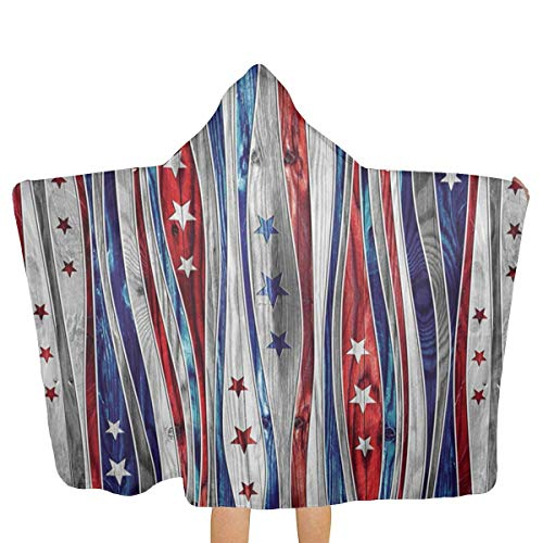 Digital American Flag Colored Wood Stripes Hooded Beach Towels,Pool Bath Towel Soft Microfiber Multi-Purpose Poncho Swim Cover Changing Robe Fun Multi-use For Bath Shower Pool Swim 32x52 Inch Kids