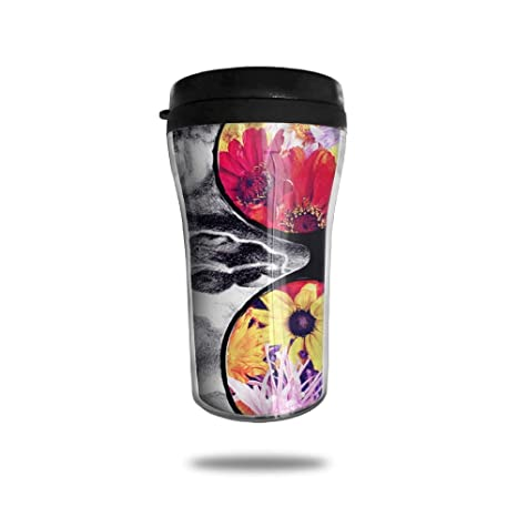 695d64cfad9 FTRGRAFE Skulls With Beach Flower Sunglasses Travel Coffee Mug 3D Printed  Portable Vacuum Cup,Insulated