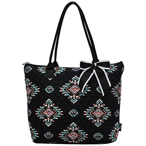 (Ngil Quilted Cotton Medium Tote Bag 2018 Spring Collection (Southern Tribe Black))