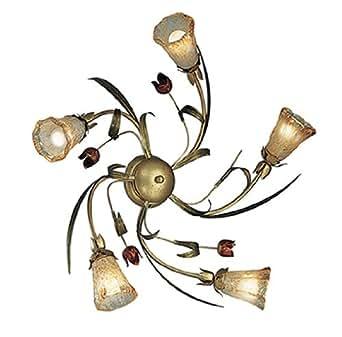 Sorpetaler Leuchten 112491 Gocci - Lámpara de techo (estilo florentino, cristal satinado, fabricada a mano, 70 cm, 5 bombillas E14, máximo 40 W), color dorado, verde y rojo