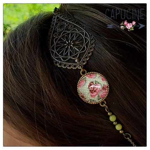 Ajustable Shabby Chic II Accessoire cheveux Headband avec cabochon verre fleurs style anglais rose vert et estampe bronze