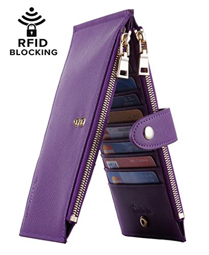 Travelambo Womens Walllet RFID Blocking Bifold Multi Card Case Wallet with Zipper Pocket (CH Purple Steel 5113)