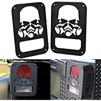 FMtoppeak Black Metal Billet Tail Light PROTECTOR Guards Covers For Jeep Wrangler 2007-2016