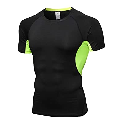 N/ A Compression Short Sleeve Shirt for Men Baselayer Athletic Workout T-Shirt for Gym Workout, Fitness, Running: Clothing