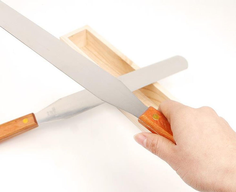 Demarkt Baking Tool 8 Inch Wooden Handle Spatula Blade Tool Cake Tool by Demarkt (Image #4)