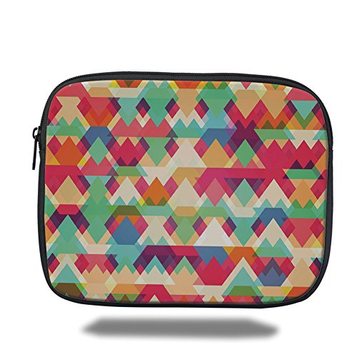 Laptop Sleeve Case,Indie,Abstract Vibrant Colorful Triangles Overlap Geometric Design with Artistic Display Decorative,Multicolor,iPad Bag by iPrint