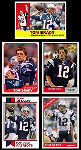 Tom Brady Custom (5) Card Lot with 5 different Classic Topps Designs 1960, 1961, 1965, 1966, 1973 (Patroits)