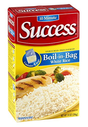 Success Rice, 10 Minute, Boil-in-Bag, Natural Long Grain White Rice, 14oz Box (Pack of 4) by Success Rice