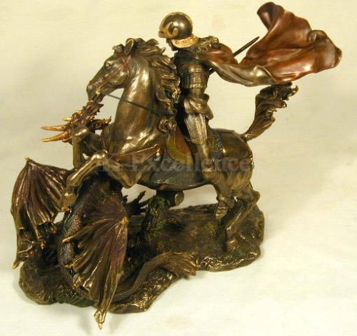 Top Collection 10.5H 11.5W Saint George Slaying the Dragon Sculpture  in Cold Cast Bronze
