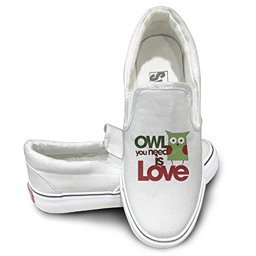 SH-rong Owl You Need Is Love Unisex Canvas Sneakers Shoes Size 43 White
