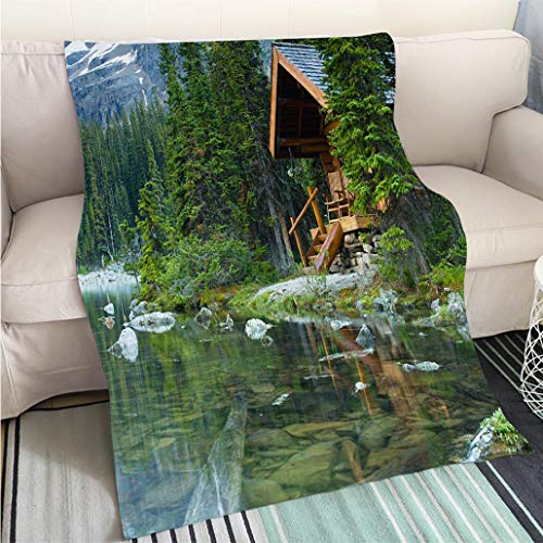 BEICICI Art Design Photos Cool Quilt Log Cabin Hidden in The Trees by The Lake Ohara in Canada Living Room/Bedroom Warm Blanket