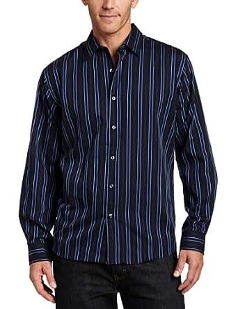 Van Heusen Men's CVC Night Stripes Shirt, Deep Blue Black Iris