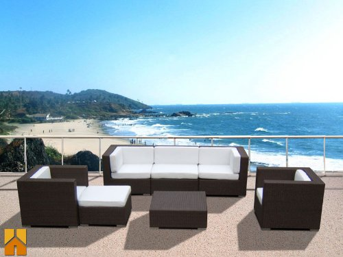 Modern Rattan Outdoor Patio Sofa Sectional Wicker Furniture 7pc Resin Couch Set (San Antonio Outdoor Furniture)