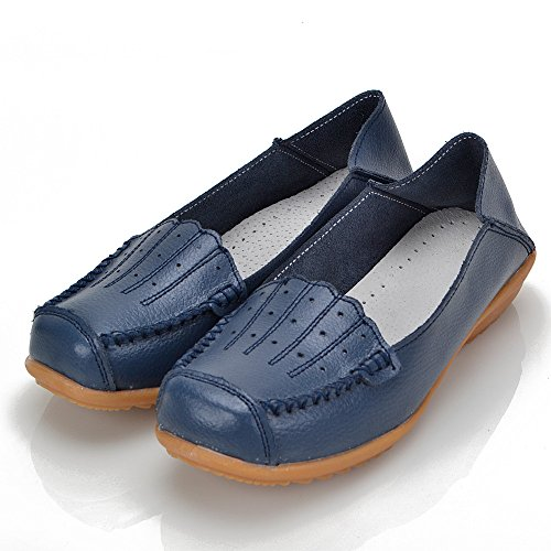 Mocassini Earsoon Scarpe Da Donna In Pelle - Handcraft 2018 Spring New Exclusive Series Slip On Mocassini Donna Penny Nero Comfort Walking Flat Mocassini Blue 2
