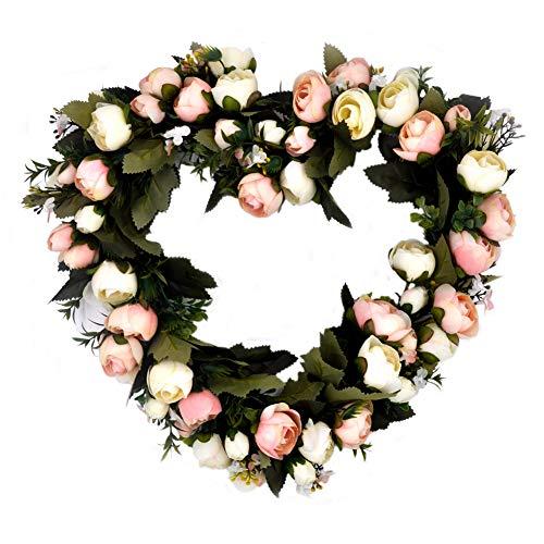(TPD Rose Flowers Wreath Pink Heart Wedding Decor Vintage Art Simulation Garland Artificial)