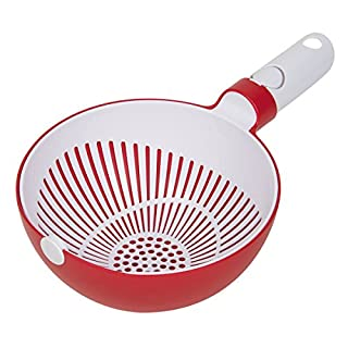 "Master Pan MasterPan Twist Bowl Colander, 8"", White And Red"