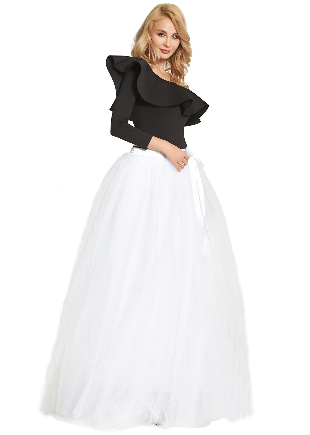 Womens Floor Length Bowknot Tulle Party Evening Skirt Princess A Line Layered Long Tutu (White)