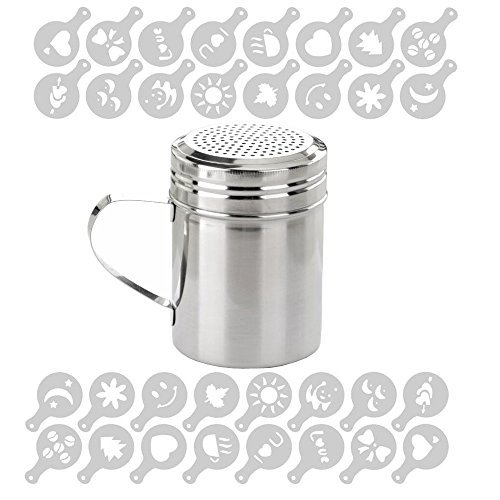 Stainless Steel Powder Shakers,Exploreworld Shaker Powder Cans for Coffee Cocoa Cinnamon Powder,with 2 Pack 32 Pcs Coffee Decorating Stencils
