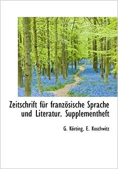 Book Zeitschrift Fur Franzosische Sprache Und Literatur. Supplementheft (German Edition)