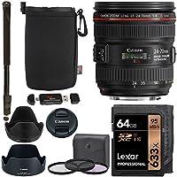 Canon EF 24-70mm f/4.0L IS USM Standard Zoom Lens, Lexar 633x 64GB Memory Card, 77mm Digital Filter Set, Monopod, Ritz Gear Pouch and Accessory Bundle