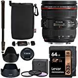 Canon EF 24-70mm f/4.0L IS USM Standard Zoom Lens, Lexar 633x 64GB Memory Card, 77mm Digital Filter Set, Monopod, Ritz Gear Pouch and Accessory Bundle