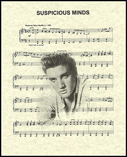 Ready Prints Suspicious Minds by Elvis Presley Music Sheet Artwork Print Picture Poster Home Office Bedroom Nursery Kitchen Wall Decor - unframed