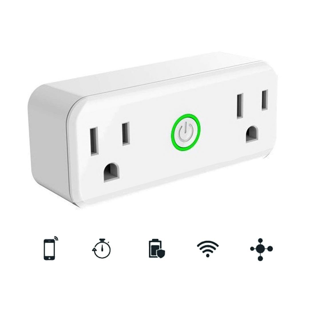 AOCOBOOK Smart Socket Dual Outlet Compatible with Alexa and Google Assistant,Remote Control Outlet with Timing Function,No Hub Required,Mini smart plug 2 in 1